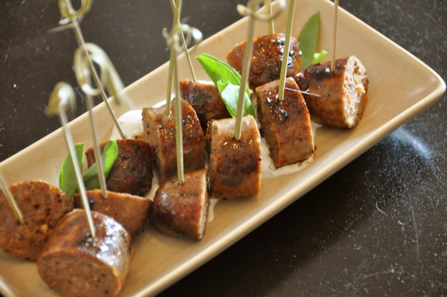 Pretty party food presentation made easy: sausages {Austin Food Lovers' Companion}
