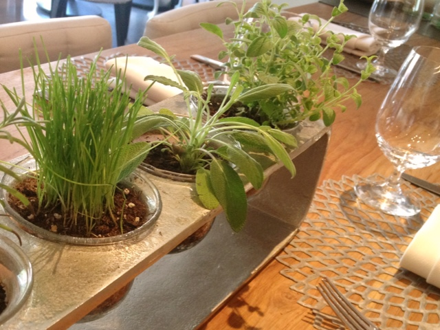Herb Center Piece at TRACE in Austin, Tx