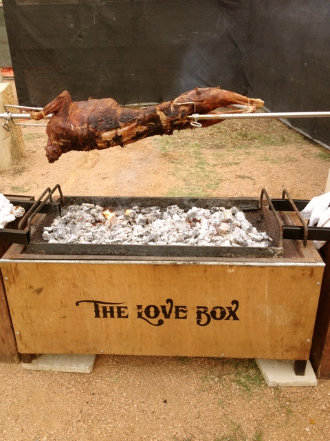 During the Austin FOOD & WINE Festival, chefs pull out all of the stops - like this goat roasting over Chef Tim Love's Love Box.