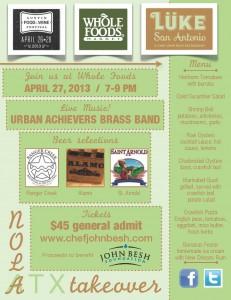 Event information for the John Besh Luke San Antonio takeover of Austin during the Austin FOOD & WINE festival