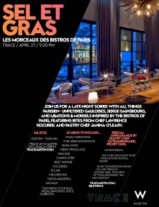 Flyer for the TRACE Sel et Gras event during the Austin FOOD & WINE Festival